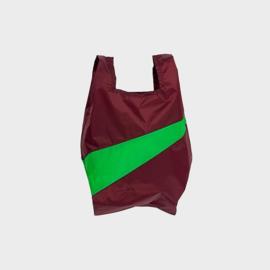 Shoppingbag M 'burgundy & greenscreen' - Susan Bijl