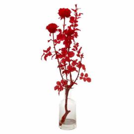 Roos tak rood in vaas - Kunstplant - Pols Potten
