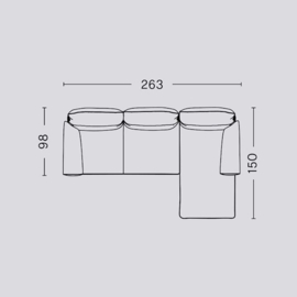 Pandarine 3 zitsbank (263 cm) chaise longue - Ronde armleuningen - Inga Sempé / HAY