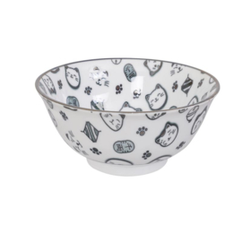 Japanese cat bowl - kom kat zwart / blauw