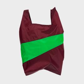 Shoppingbag L 'burgundy & greenscreen' - Susan Bijl