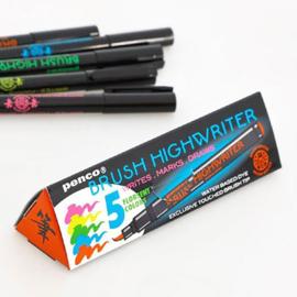 Japanse Fluor Penseel stiften / Brush highwriter 5 stuks - Penco / Hightide