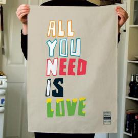 Theedoek  met print: All You Need Is Love