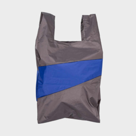 Shoppingbag M 'warm grey & electric blue' - Susan Bijl