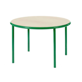 Wooden table round green - Muller Van Severen / Valerie Objects