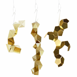 Kerstballen / versiering - Ornaments 'Fragments' messing