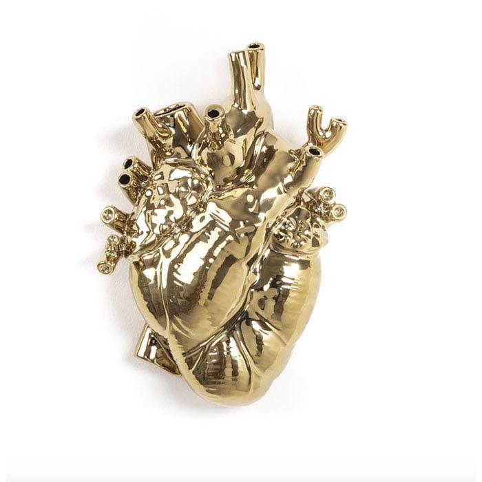 Gouden vaas in de vorm van een hart 'Love in Bloom' - Seletti