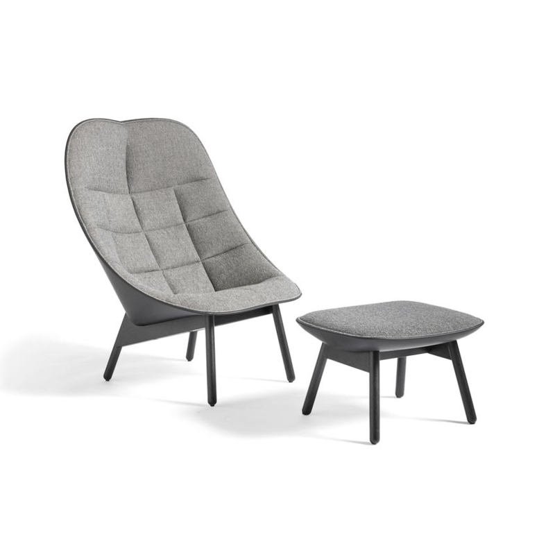 Uchiwa fauteuil Quilt - Olavi by HAY 12 / Sierra 1001 Black (leer)