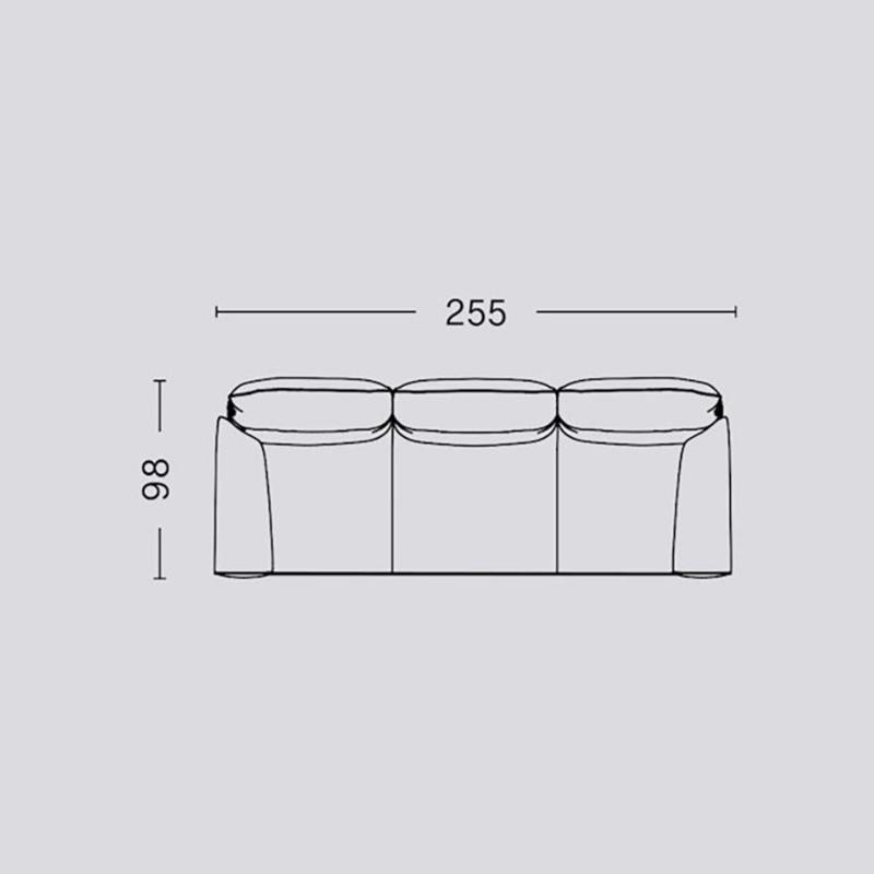 Pandarine 3 zitsbank (255 cm) Ronde armleuningen - Inga Sempé / HAY