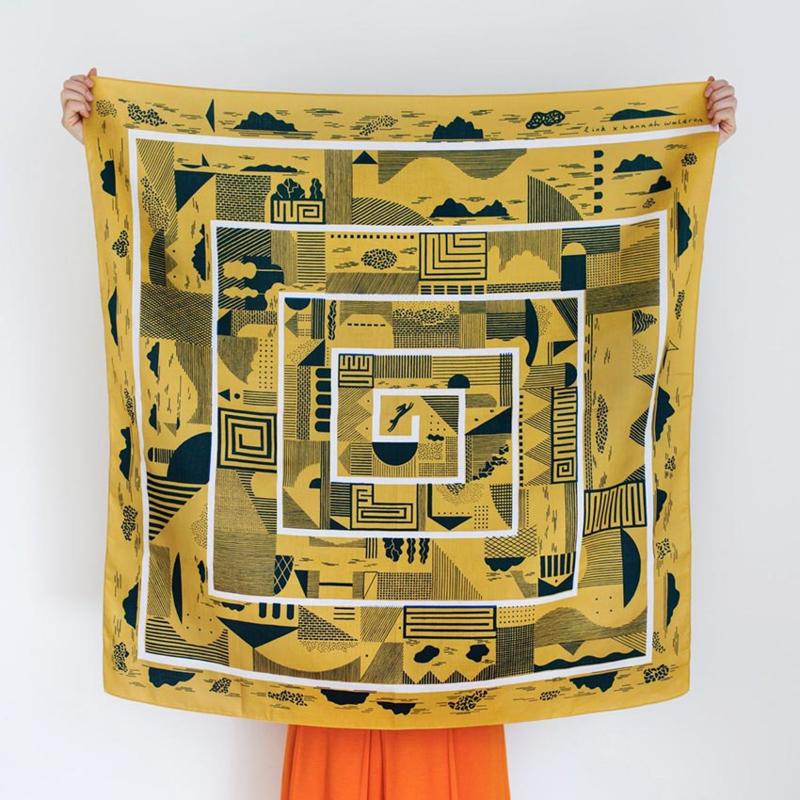 Furoshiki 90 x 90 cm 'Maze' Mustard - Link