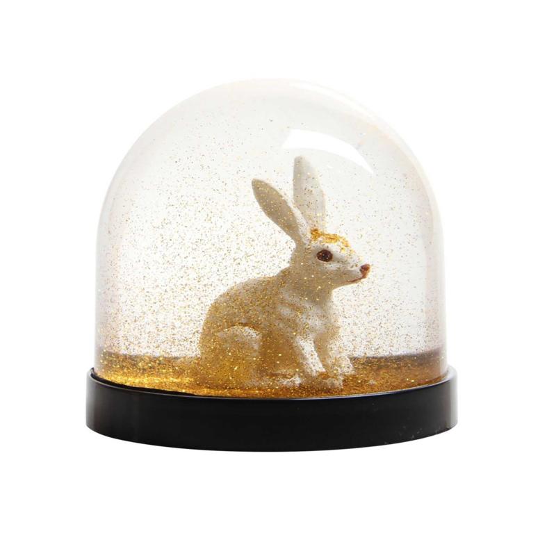 Wonderball Konijn Glitter Goud: sneeuwbol - &Klevering