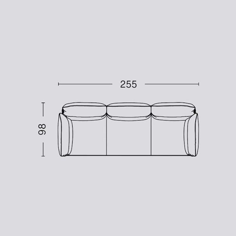 Pandarine 3 zitsbank (255 cm) Verstelbare armleuningen - Inga Sempé / HAY