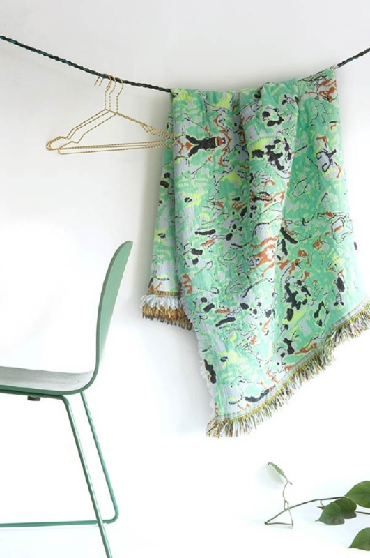 Plaid / Deken 'Fringe' N°1 Fun Green - Roos Soetekouw