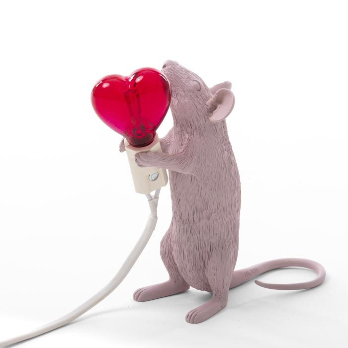Mouse Lamp Standing Roze Valentijn tafellamp - Seletti