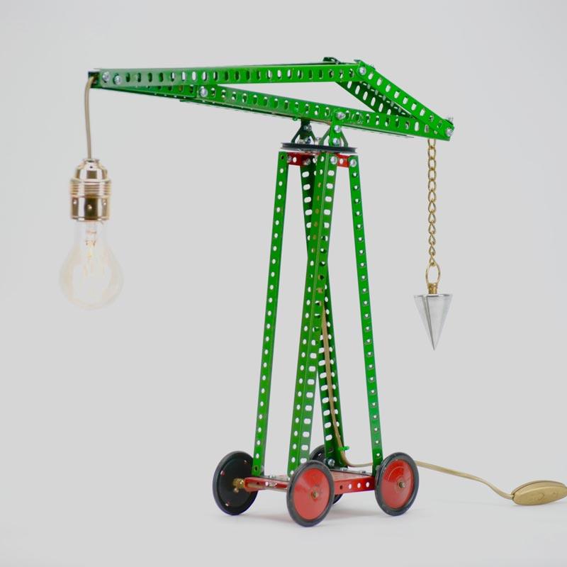 Lamp van Meccano 'Hijskraan' - Oom Jan