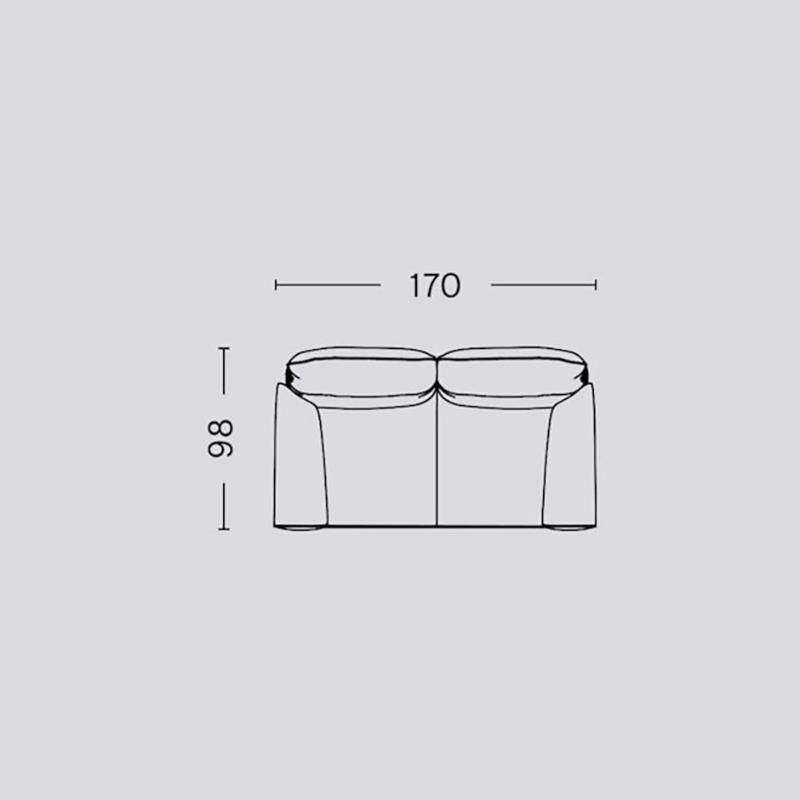Pandarine 2 zitsbank (176 cm) Ronde armleuningen - Inga Sempé / HAY