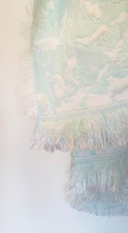 Plaid / Deken 'Fringe' N°7 Soft Mint - Roos Soetekouw