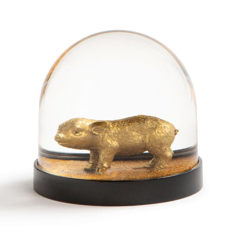 Wonderball Pig / Biggetje: gouden glitter sneeuwbol - &Klevering