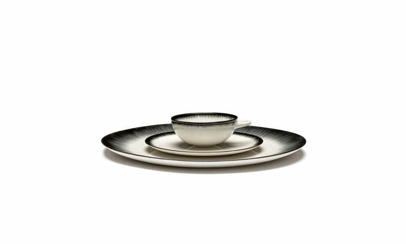 Servies Dé - Bordje 17,5 cm Off-White/Black var 3 - Ann Demeulemeester Serax