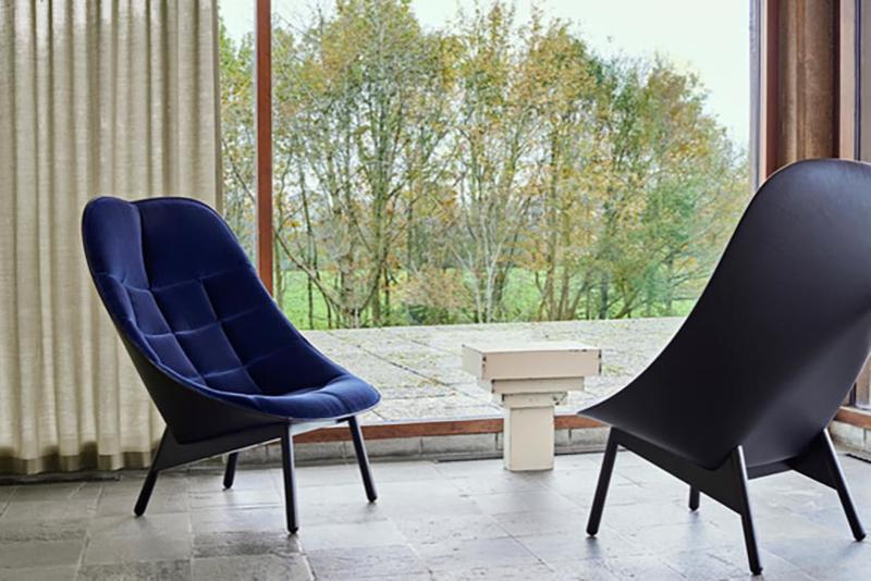 Uchiwa fauteuil Quilt - Harald 792 (velour) / Silk 842 (leer)