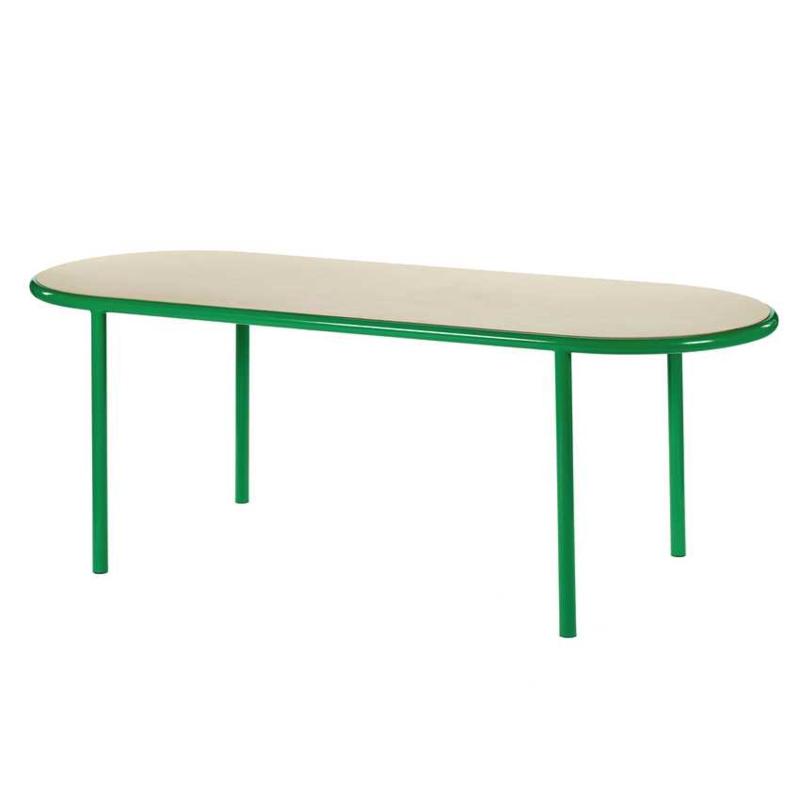 Wooden table oval green - Muller Van Severen / Valerie Objects