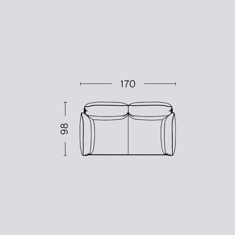 Pandarine 2 zitsbank (176 cm) Verstelbare armleuningen - Inga Sempé / HAY
