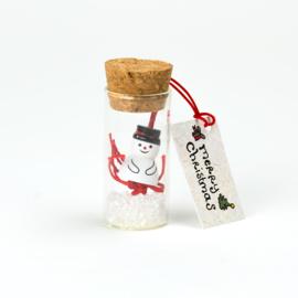 Kerstflesje sneeuwpop 5cm