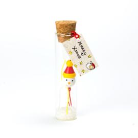kerstflesje sneeuwpop 11cm