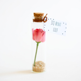 Bloemenflesje jij bent lief