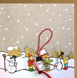 Wenskaart kerst sneeuwpop maken