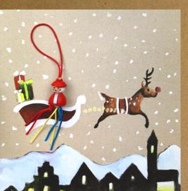 Wenskaart kerst slee
