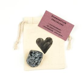 Knuffelsteen-Sneeuwvlok Obsidiaan natural