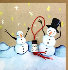 Wenskaart kraft sneeuwpoppen