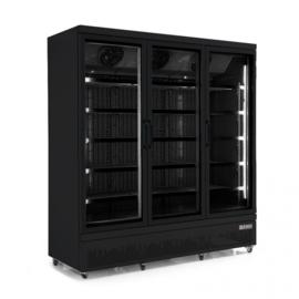 Multinox drie deurs glasdeur koeling zwart - 1530 liter