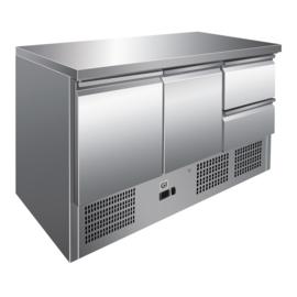 RVS koelwerkbank 2 deuren 2 laden