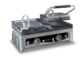 Multinox dubbele contact grill -  geribbeld