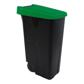 Afvalcontainer - klap deksel groen - 85 liter
