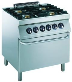 Multinox 4 pits gasfornuis met elektrische oven