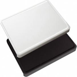 Trancheer/buffetplank polyethyleen met geul - wit