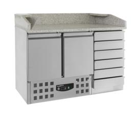 Multinox Pizza koelwerkbank met 2 deuren en lades 1/1 GN