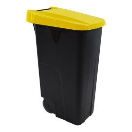 Afvalcontainer - klap deksel geel - 85 liter