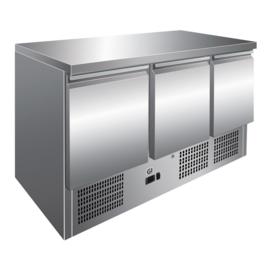 RVS koelwerkbank 3 deurs - geforceerd gekoeld