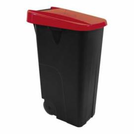 Afvalcontainer - klap deksel rood - 85 liter
