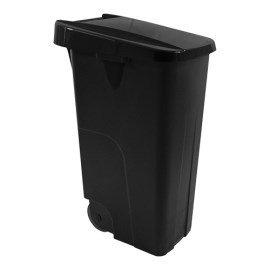 Afvalcontainer - klap deksel zwart - 85 liter