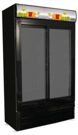Koelkast met 2 glazen schuifdeuren - 780 liter in- en exterieur zwart