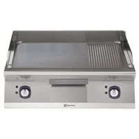 Electrolux bakplaat met 2/3 gladde plaat en 1/3 grillplaat - geborsteld chroom