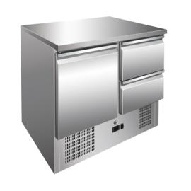 RVS koelwerkbank 1 deur en 2 laden