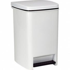 Pedaalemmer afvalbak - wit kunststof met binnenemmer - 20 liter