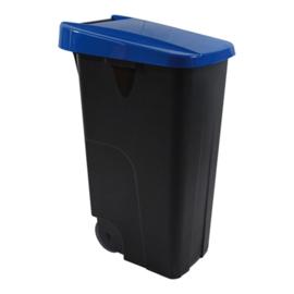 Afvalcontainer - klap deksel blauw - 85 liter