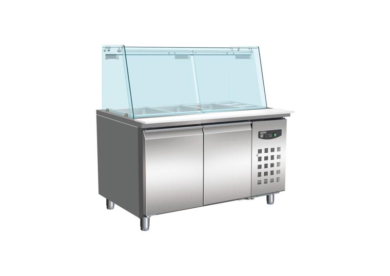 Multinox koelwerkbank met glasopstand 314 liter